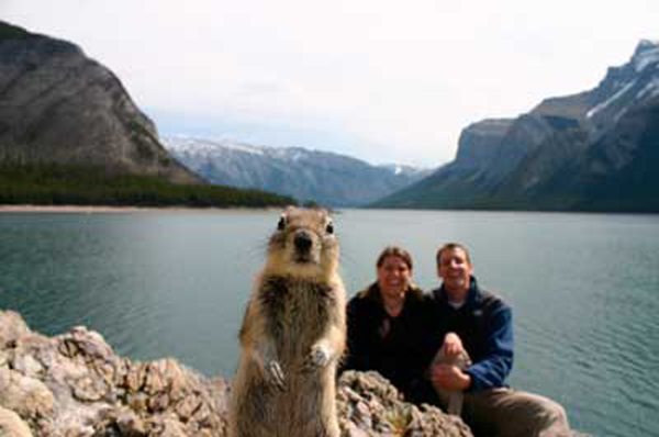 squirrel photobomb at lake