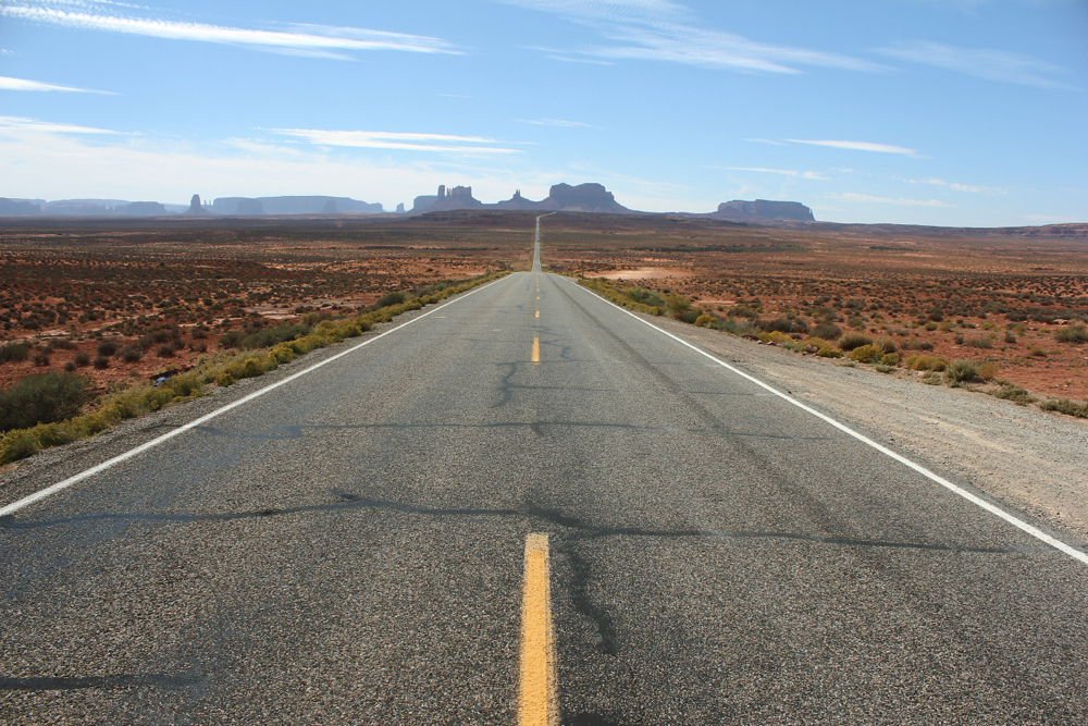 along road