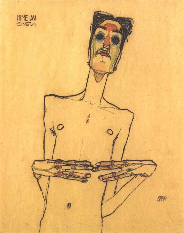 Schiele_-_Osen_mit_aneinandergelegten_Fingerspitzen_-_1910